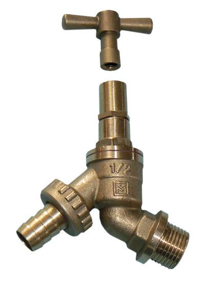 VHBL DZR Brass Hose Union (Garden Tap) Lockshield Bibcheck 1/2in BSP