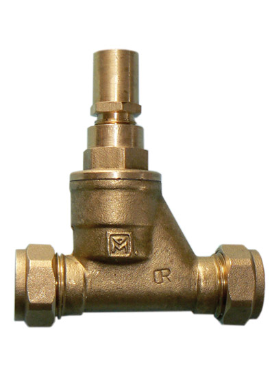 BRASS GATE VALVE C X C 22MM LOCKSHIELD TYPE