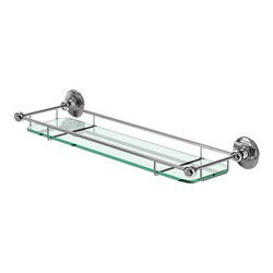 Burlington A18CHR Glass Shelf with Railing 532mm x 160mm x 60mm - Chrome