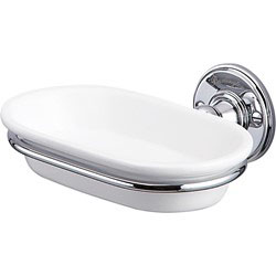 Burlington A1CHR Soap Dish 158mm x 146mm x 60mm - White/Chrome