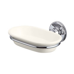 Burlington A1CHRMED Soap Dish 158mm x 146mm x 60mm - Ivory/Chrome