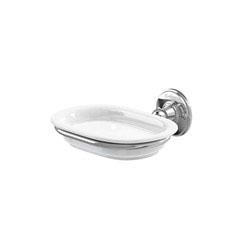 Burlington A1NKL Soap Dish 158mm x 146mm x 60mm - White/Nickel
