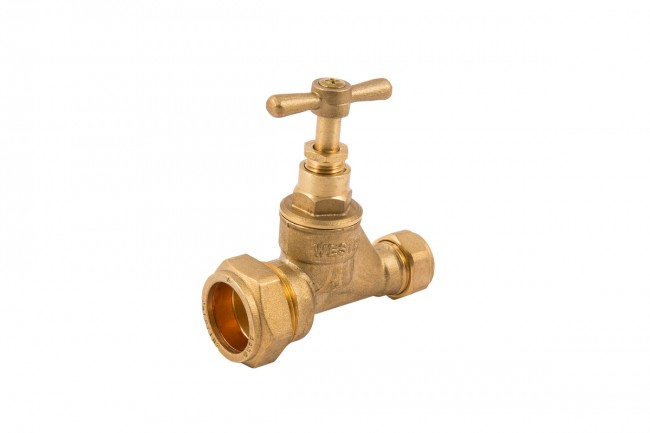 25MM X 15MM BRASS STOPCOCK (STOP VALVE) MDPE X COPPER (CU)