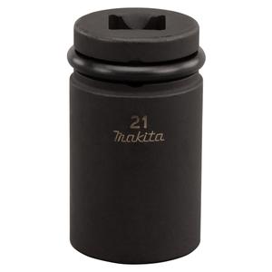 Makita 134833-2 Impact Socket 1/2In Square Drive 21mm (52mm Long) - Scaffolders Socket