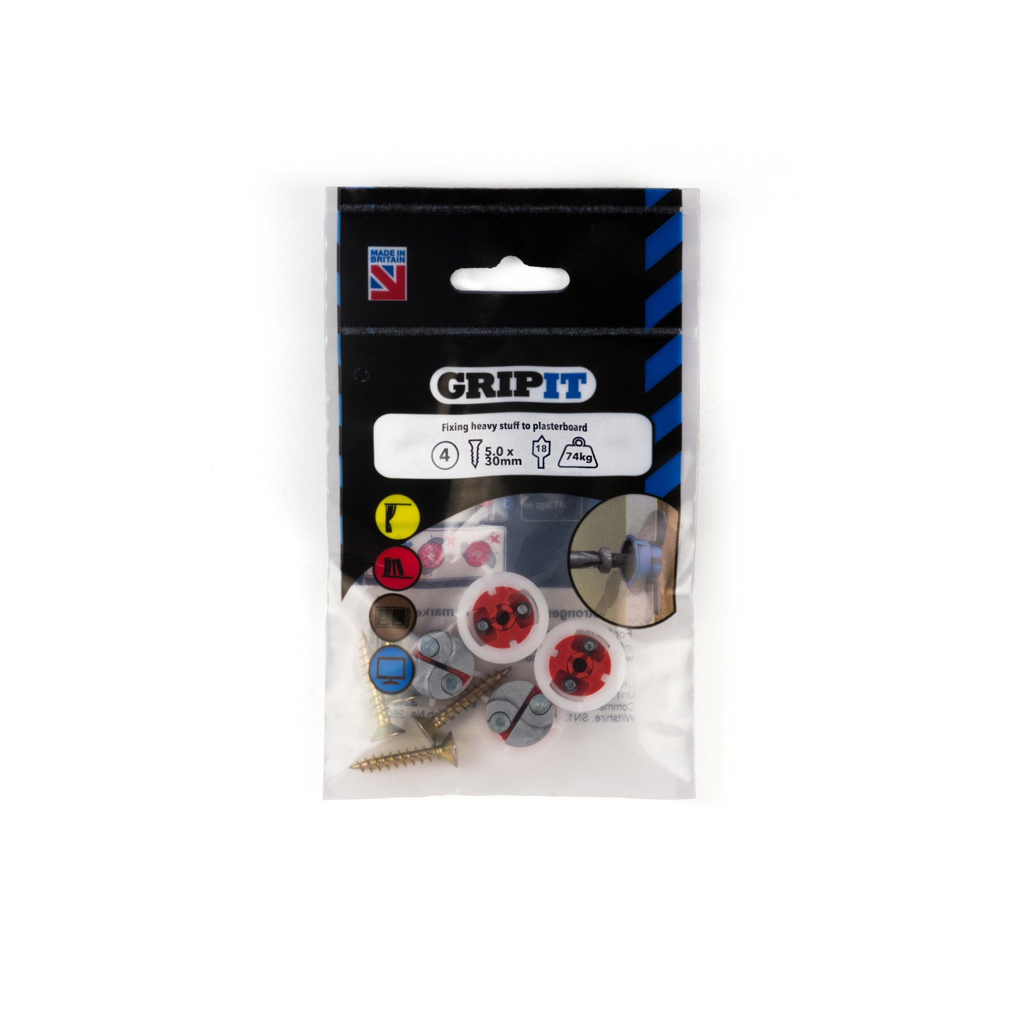 Gripit Plasterboard Fixings Red (Pack of 4) Holds Up to 71kg - 182-254