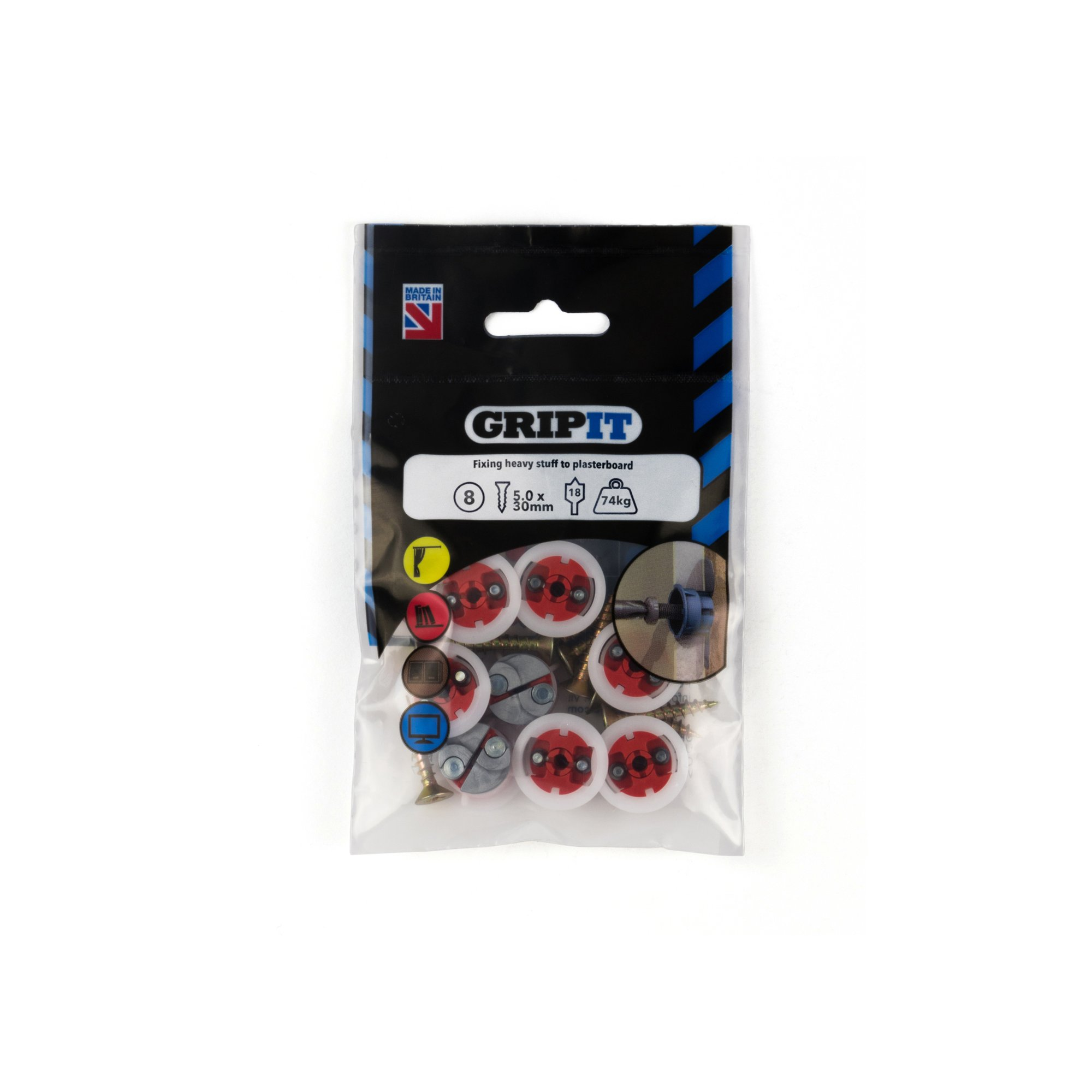 Gripit Plasterboard Fixings Red (Pack of 8) Holds Up to 71kg - 182-258