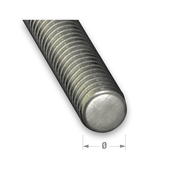 ZINCED STEEL THREADED ROD 8mm x 1mtr
