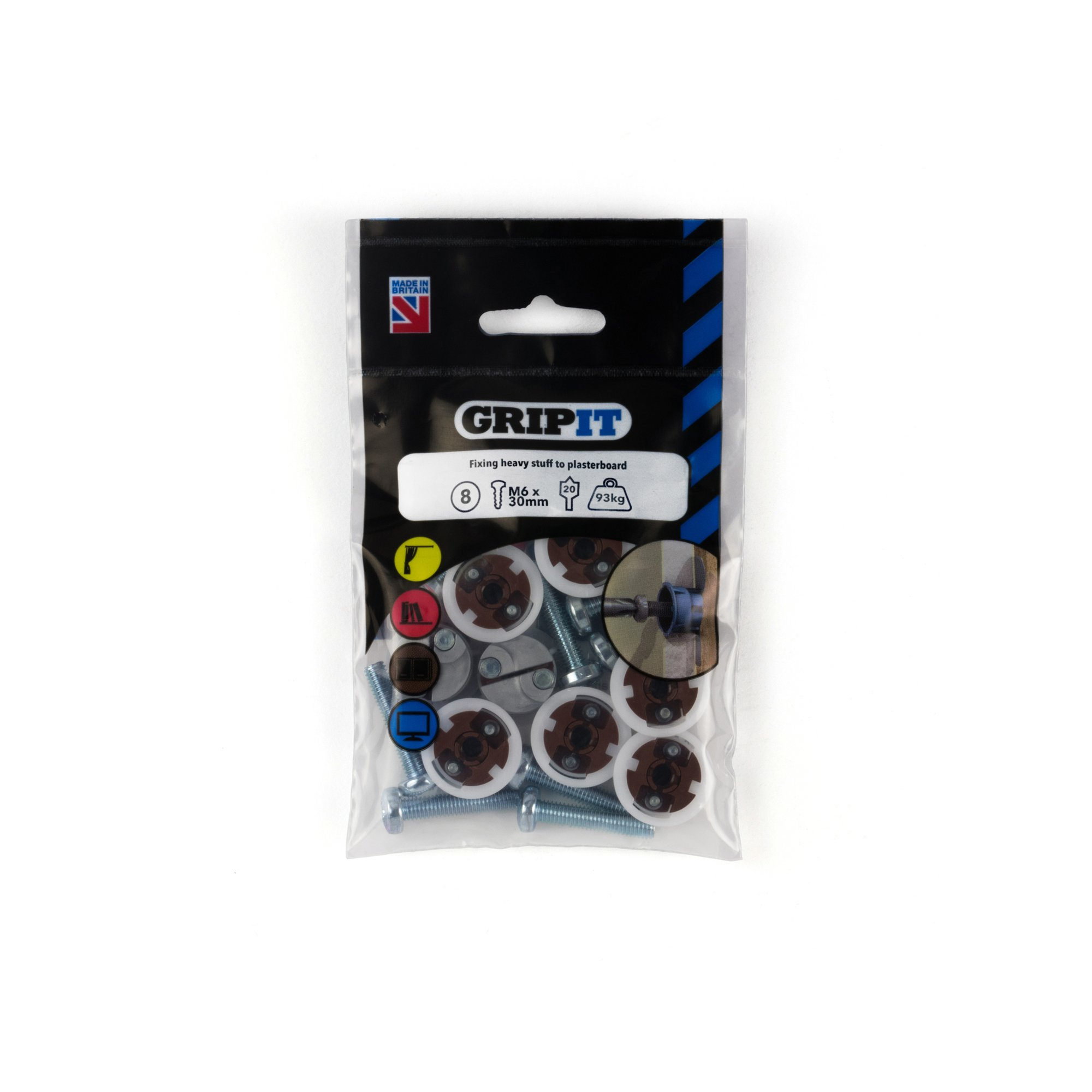 GRIPIT FIXINGS - BROWN 20MM FIXING PACK - 202-308 - PK8