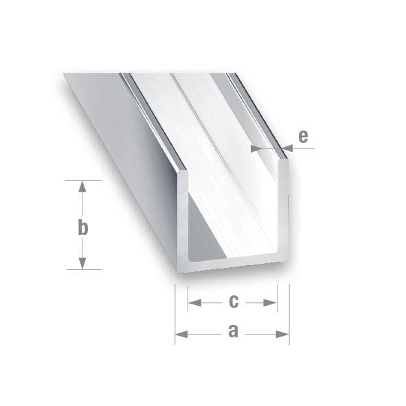 ANODISED ALUMINIUM U-PROFILE 20x20x17x1.5mm 2mtr