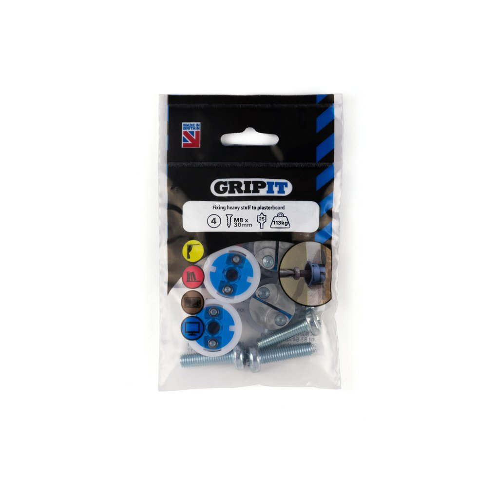 Gripit Fixings - Blue 25mmm Fixing Pack - 252-304 - Pk4