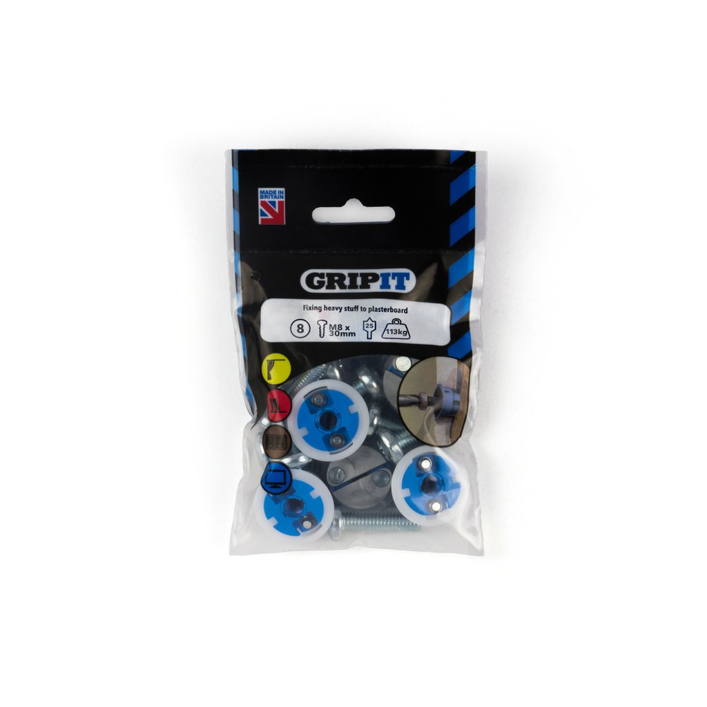 Gripit Fixings - Blue 25mm Fixing Pack - 252-308 - Pk8