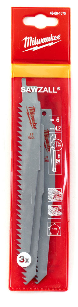 Milwaukee Sawzall Blade - 150mm Wrecker Blade - Pack of 5 - 48001075