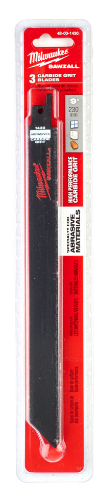 Milwaukee Sawzall Blade - 230mm for Cast Iron / Abrasive Materials / Fibreglass (3 Piece) - 48001430
