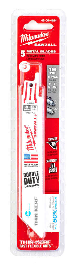 MILWAUKEE SAWZALL BLADE - 150MM TORCH DEMOLITION BLADES - 5PC - 48004184