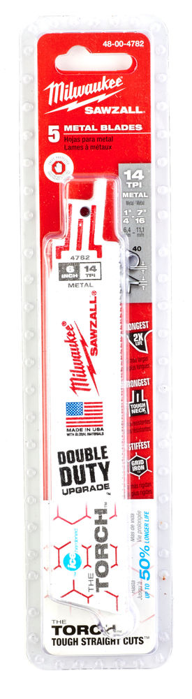 MILWAUKEE SAWZALL BLADE - 150MM TORCH DEMOLITION BLADES - 5PC - 48004782