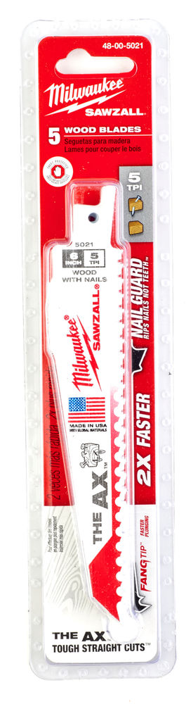 Milwaukee Sawzall Blade - 150mm Ax Wood & Nails - 5 Piece - 48005021
