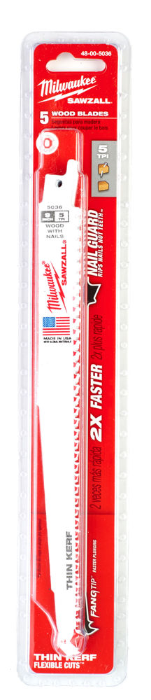 Milwaukee Sawzall Blade - 230mm Wood With Nails Thin Kerf - 5 Piece - 48005036