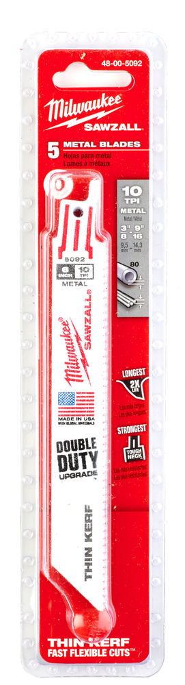 MILWAUKEE SAWZALL BLADE - 200MM DIAMOND GRIT - 5PC - 48001450