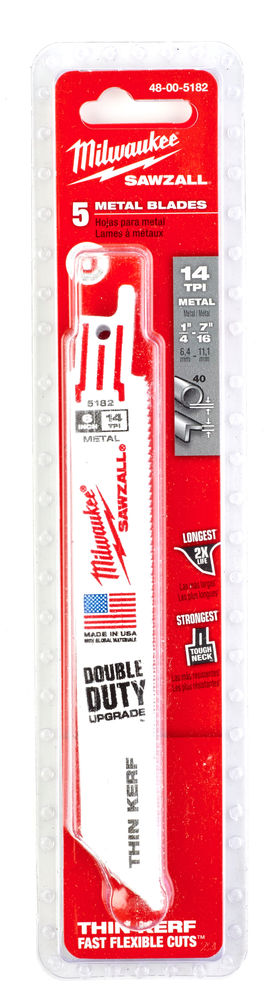 Milwaukee Sawzall Blade - 150mm Metal Thin Kerf - 5 Piece - 48005182