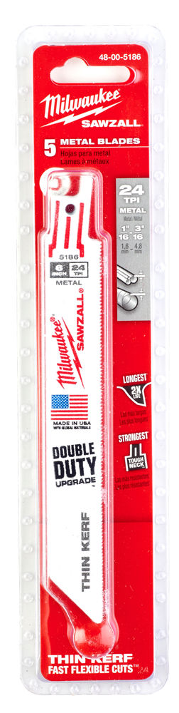 MILWAUKEE SAWZALL BLADE - 150MM METAL THIN KERF - 5PC - 48005186