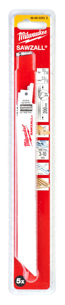 Milwaukee Sawzall Blade - 200mm General Purpose - 5 Piece - 48005293