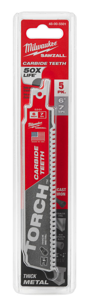 Milwaukee Sawzall Blade - 150mm Torch Carbide Blades - 5 Piece - 48005501