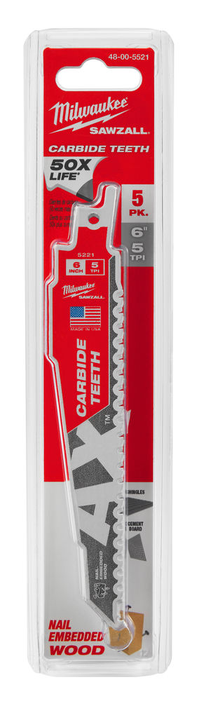 MILWAUKEE SAWZALL BLADE - 150MM WRECKER CARBIDE BLADES - 1PC - 48005241