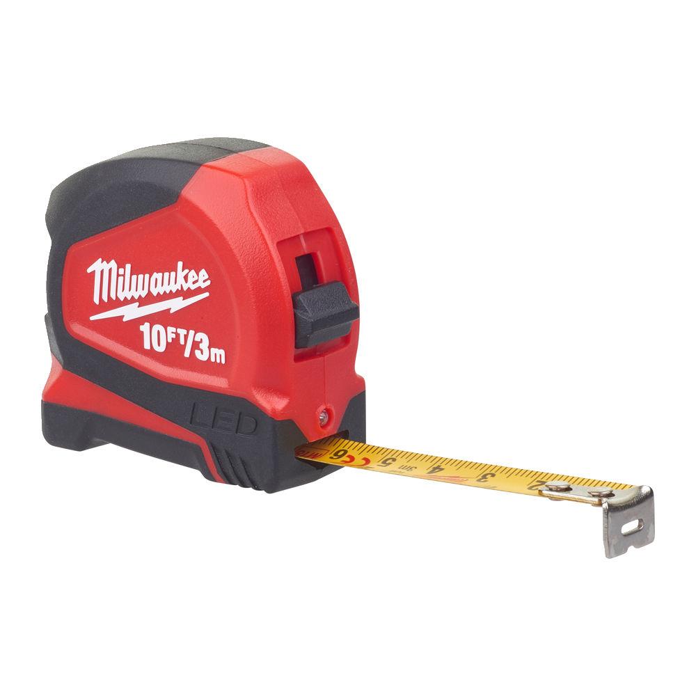 Milwaukee 3m/10ft Tape Measure C/W Led Light - 48226602