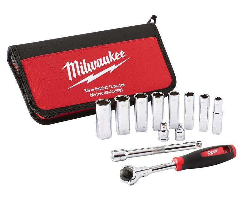 Milwaukee Tradesman 3/8in Metric Ratchet Set 12 Piece - 48229001