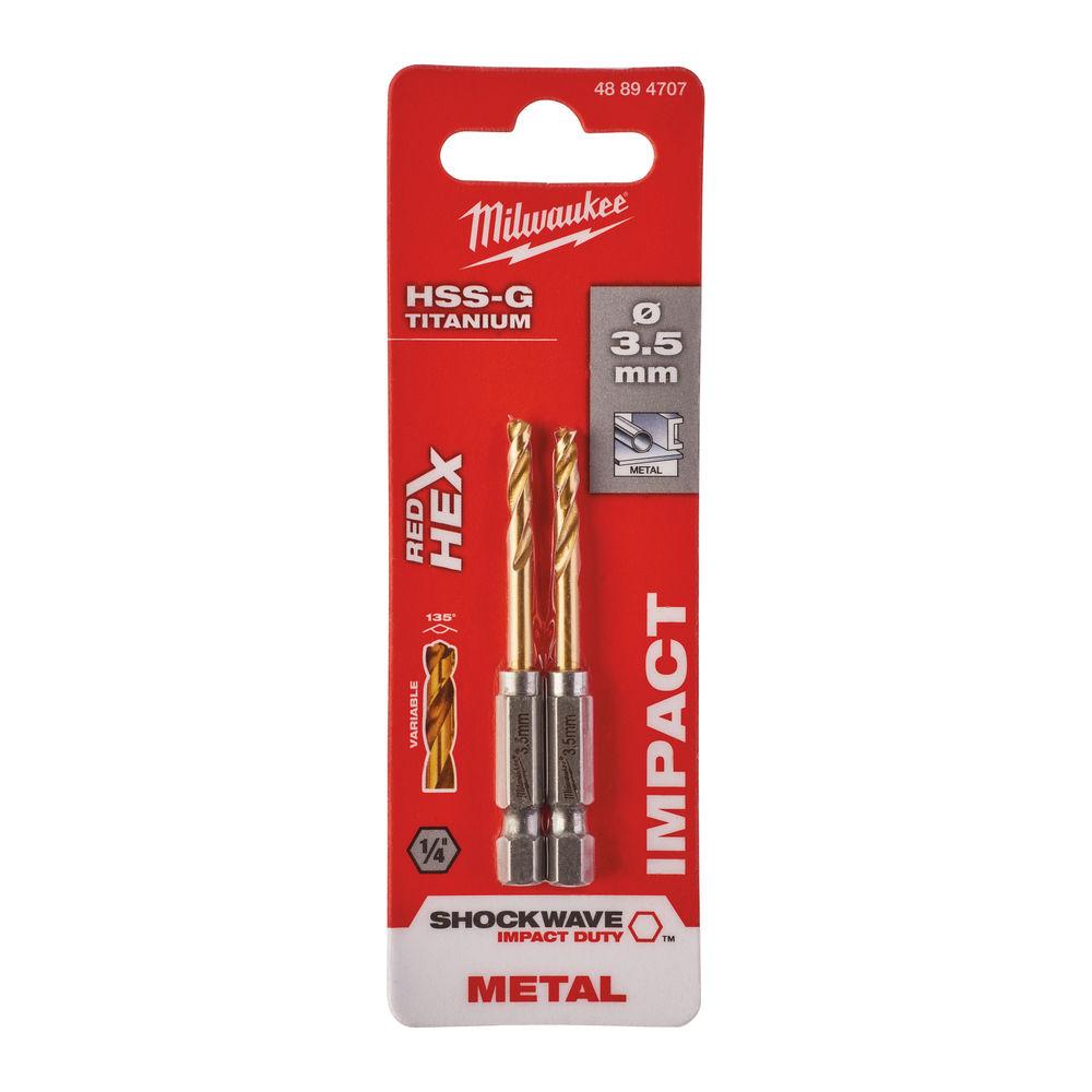 MILWAUKEE RED-HEX SHOCKWAVE HSS-GROUND TITANIUM DRILL BIT 3.5MM 2PC - 48894707