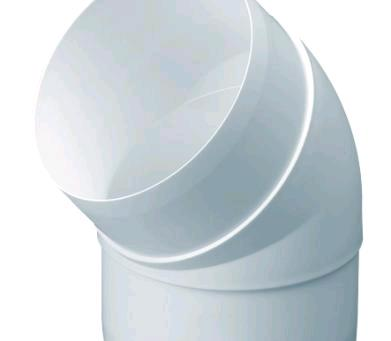 DOMUS EASIPIPE 100 ROUND RIGID DUCTING 100MM 45 DEGREE BEND