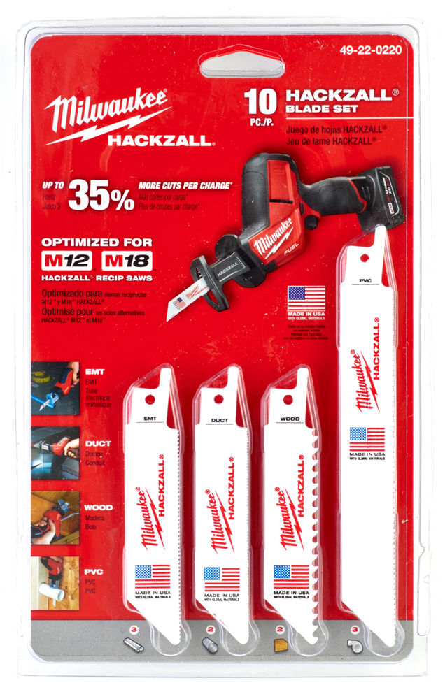 Milwaukee Sawzall Blade - 100mm & 150mm Hackzall Set - 10 Piece - 49220220