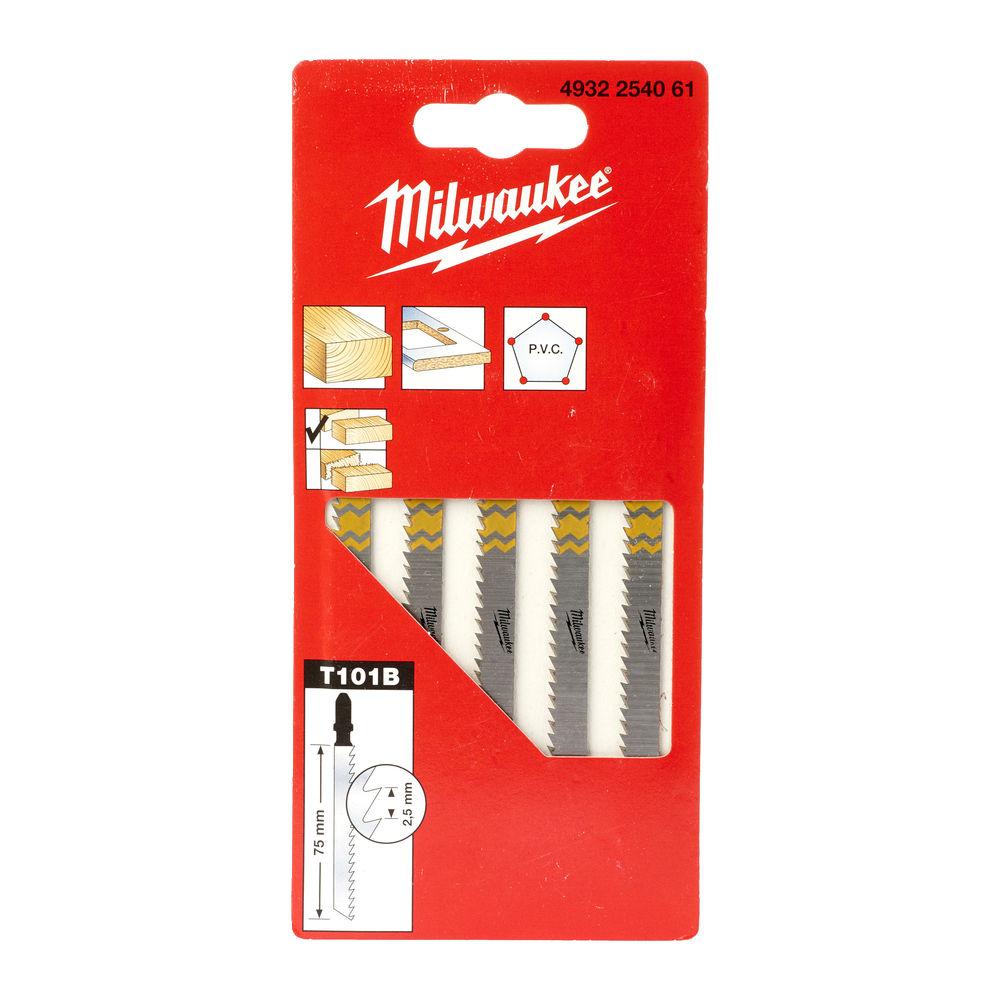 Milwaukee Jigsaw Blade 75 x 2.5mm T 101 B - 5 Piece - 4932254061
