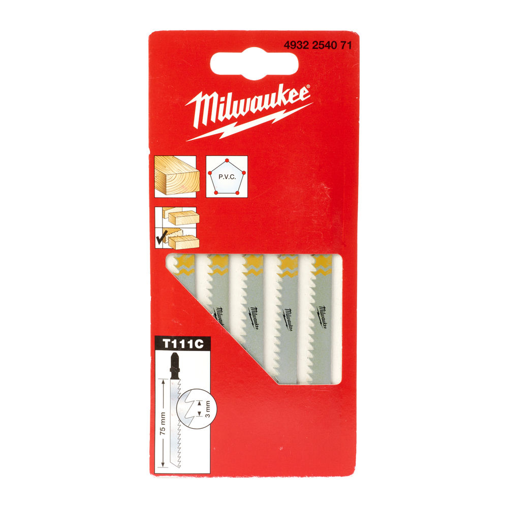 Milwaukee Jigsaw Blade 75 x 3mm T111C (Pack of 5) - 4932254071