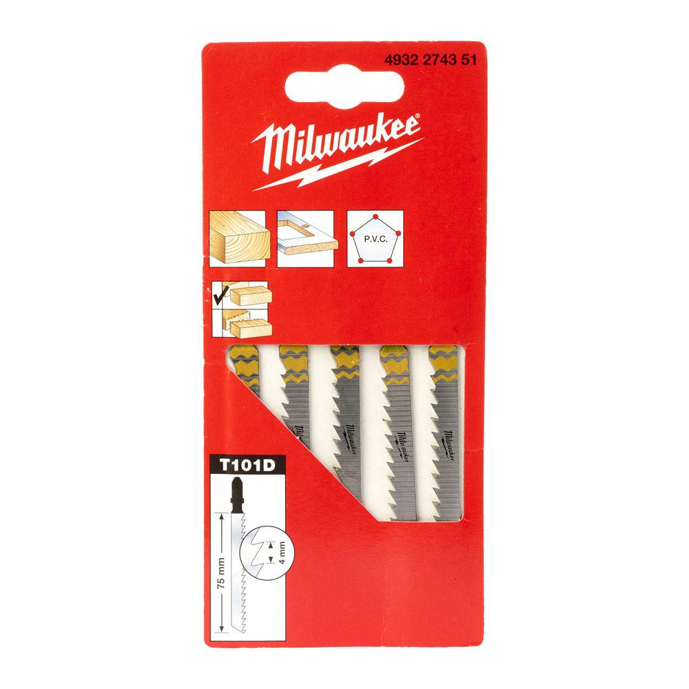 Milwaukee Jigsaw Blade 75 x 4mm T101D (Pack of 5) - 4932274351