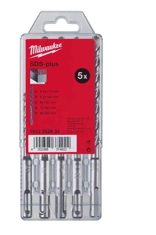 MILWAUKEE M2 SDS DRIL BIT 5PC SET IN CASSETTE - 4932352834