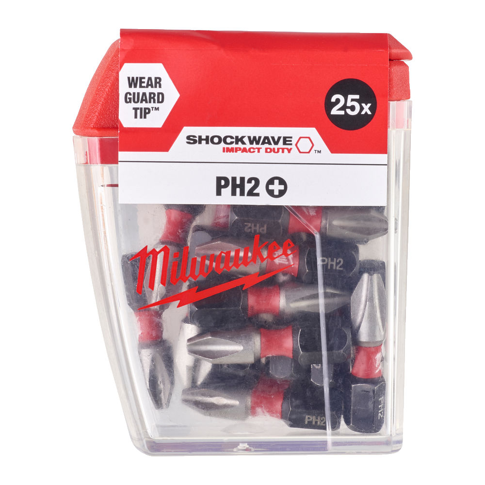 MILWAUKEE SHOCKWAVE PH2 25MM - 25PC - 4932430853