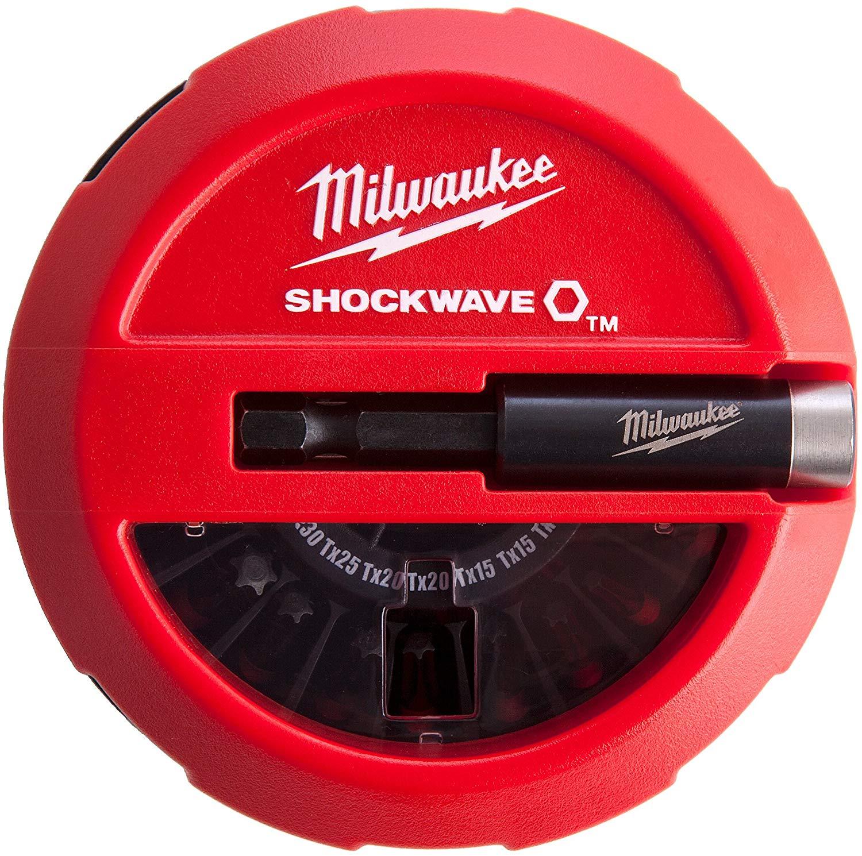 Milwaukee Shockwave Impact Duty 15 Piece Puck Bit Set & Holder Phillips/Pozidriv/Torx - 4932430904