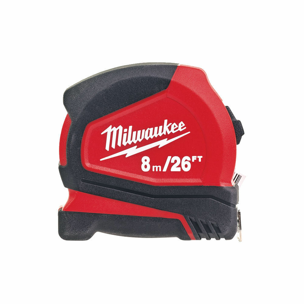 MILWAUKEE PRO COMPACT TAPE MEASURE METRIC/IMPERIAL 8M/26FT - 4932459596