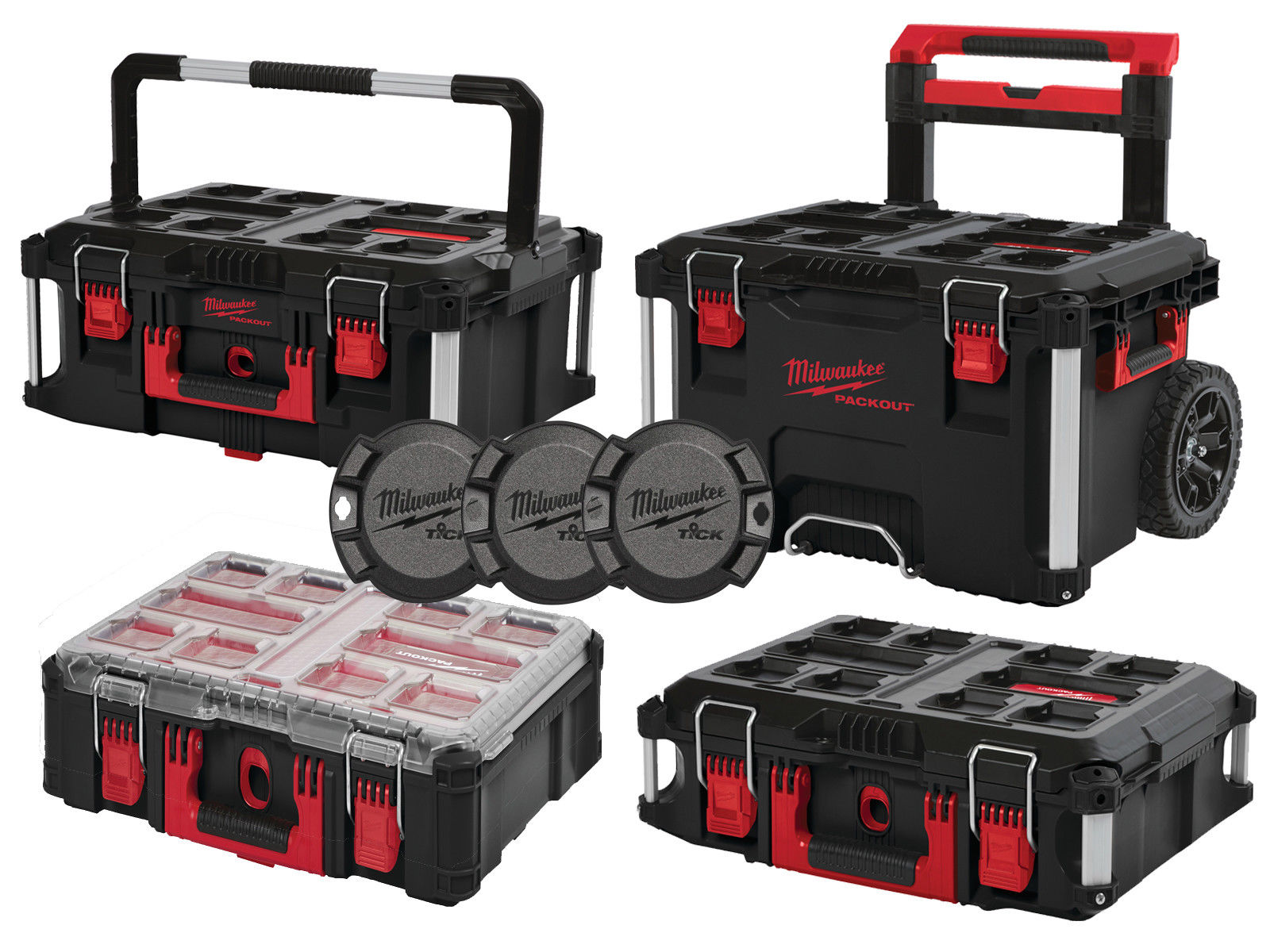 MILWAUKEE PACKOUT - PACKOUT TROLLEY / BOX 2 / BOX 3 / ORGANISER & TICKS - 4932464244