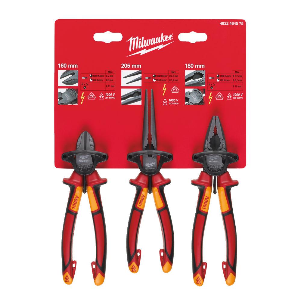 Milwaukee VDE Combi Plier / Cutter / Long Nose Pliers - 3pc Set - 4932464575
