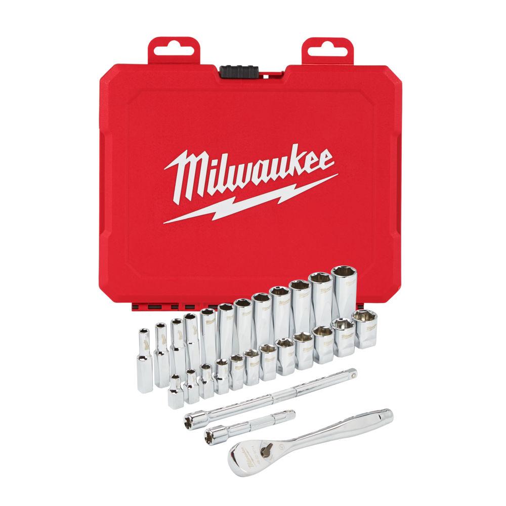 Milwaukee 1/4In Drive 28 Piece Ratchet & Socket Set Metric - 4932464943