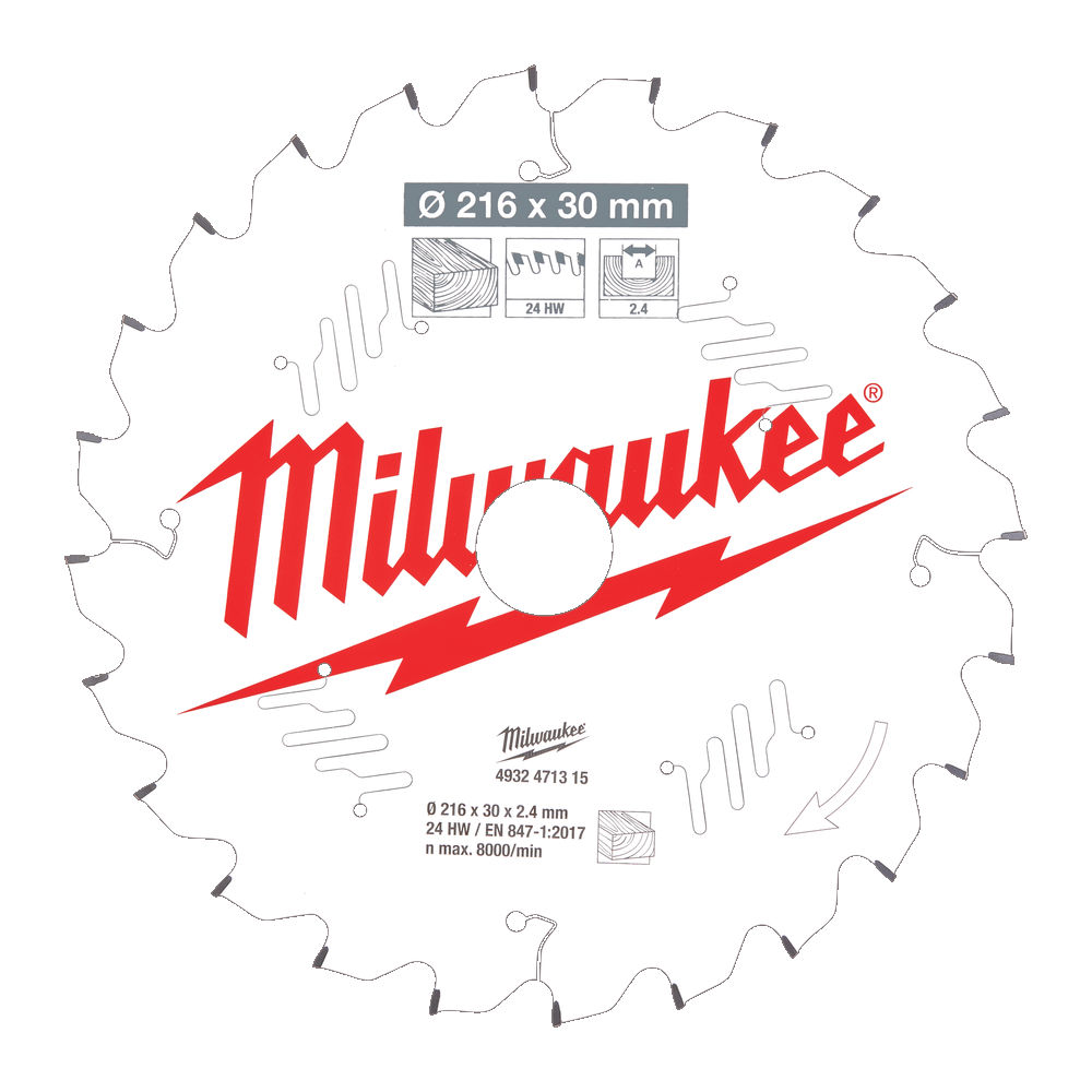 Milwaukee Circular Saw Blade for Mitre Saws 216mm x 30mm x 24TH - 4932471315