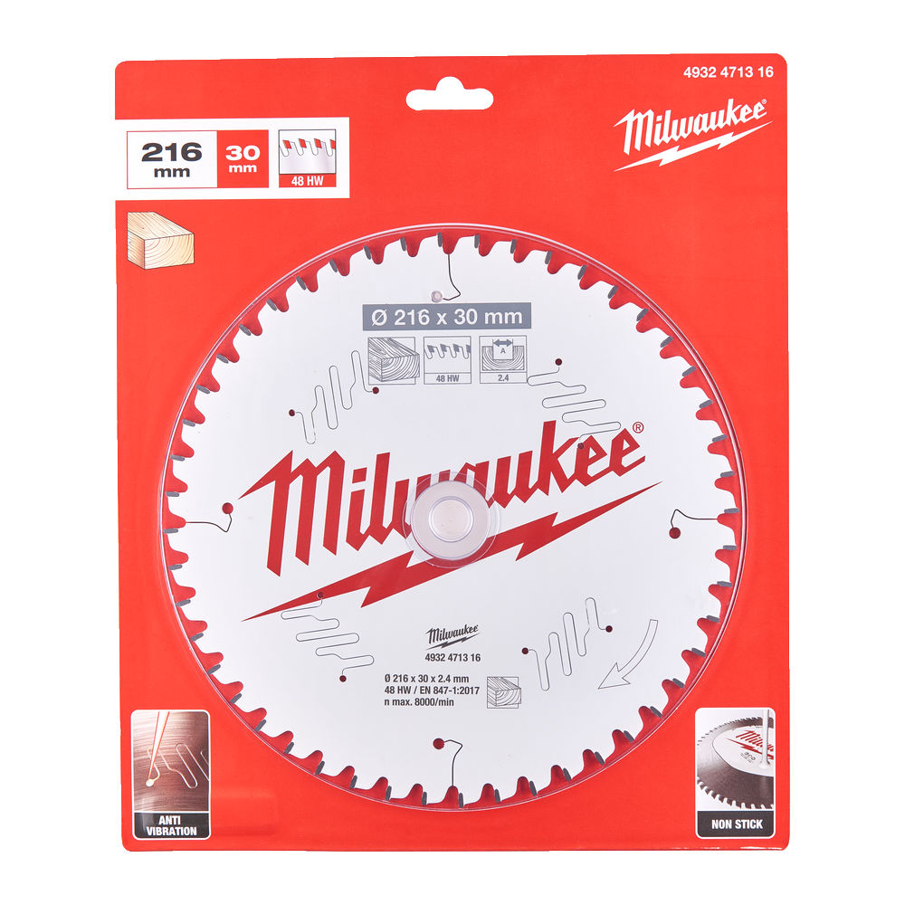 Milwaukee Circular Saw Blade for Mitre Saws 216mm x 30mmx 48TH - 4932471316