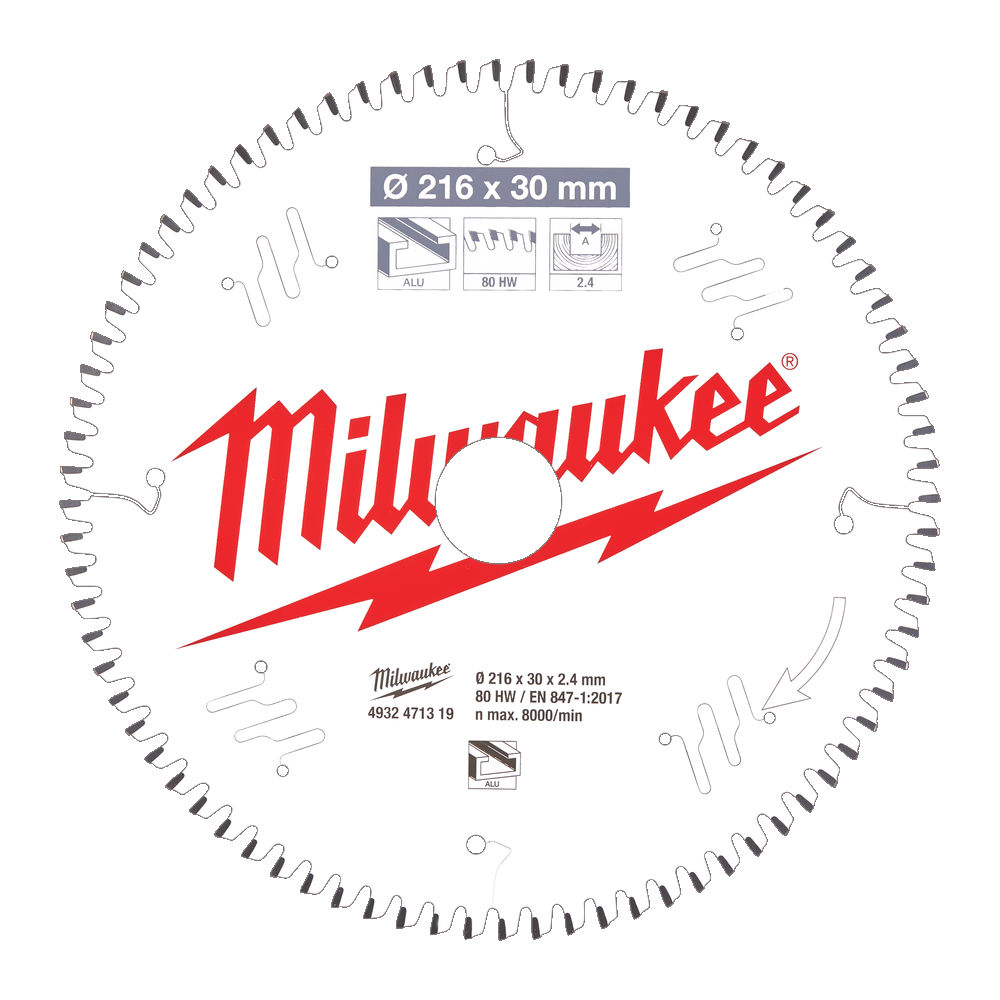 Milwaukee Circular Saw Blade for Mitre Saws 216mm x 30mm x 80TH - 4932471319