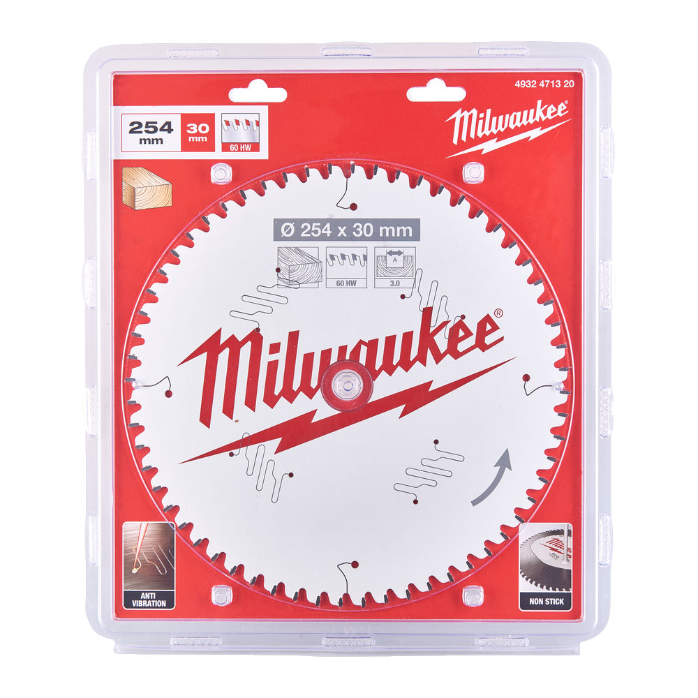 Milwaukee Circular Saw Blade for Mitre Saws 254mm x 30mm x 60TH - 4932471320