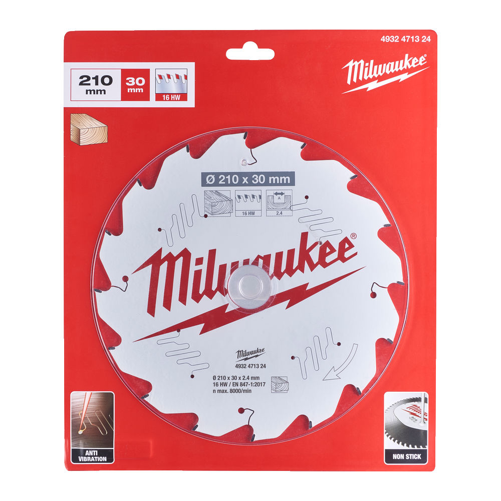 Milwaukee Circular Saw Blade for Table Saws 210mm x 30mm x 16TH - 4932471324