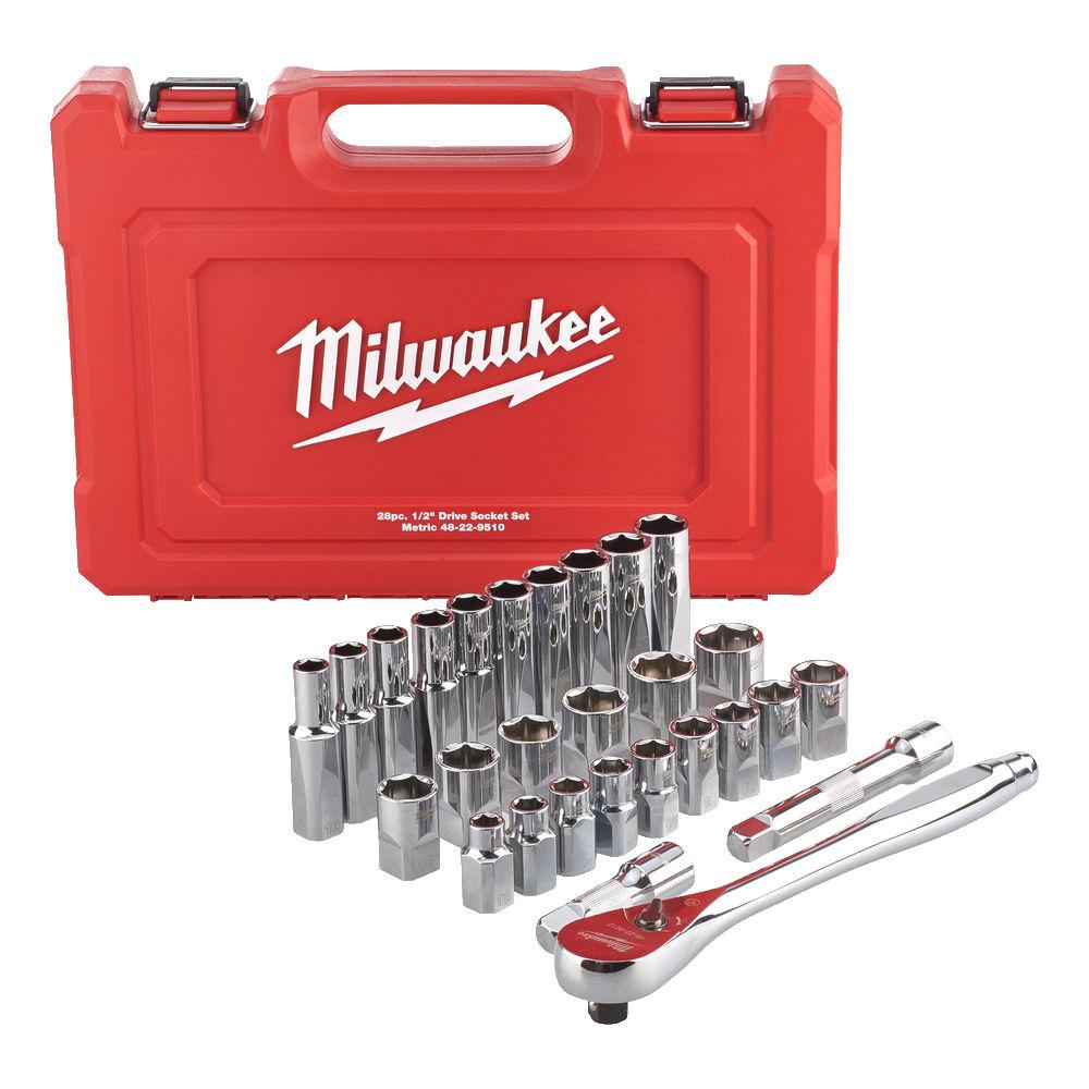 """MILWAUKEE 1/2"""" METRIC SOCKET SET & ACCESSORIES - 4932471864"""