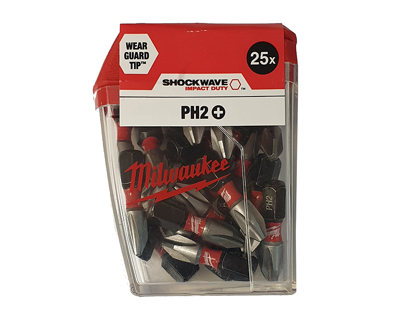Milwaukee Shockwave PH2 x 25mm Phillips Gen3 Impact Duty Screwdriver Bits - 25 Pieces - 4932472037