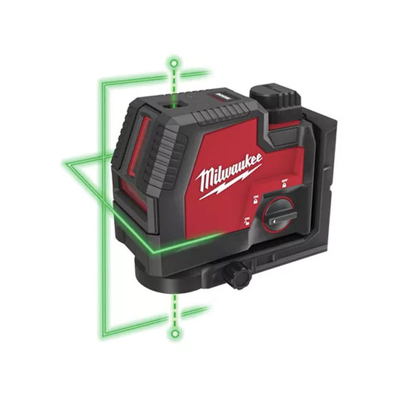 Milwaukee Red-Lithium USB Green Cross Line Laser & Plum Points - L4CLLP-301C